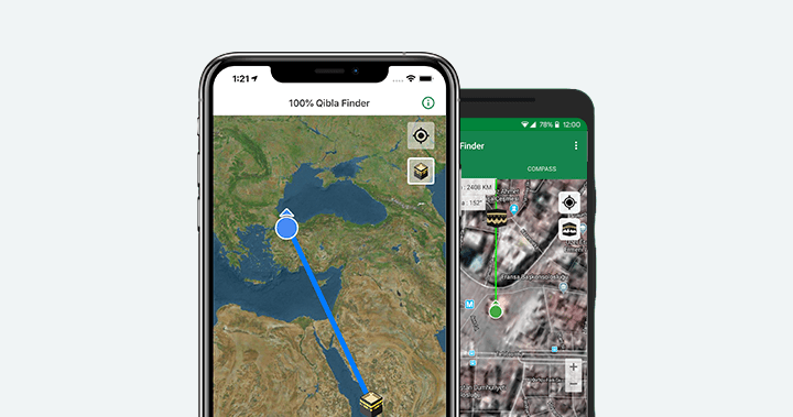 100% Qibla Finder Android App - Muslim istant on prevailing wind direction, change direction, one direction, earth's rotation direction, azimuth direction,